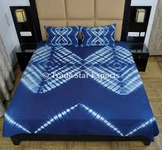 tie dye bedding set indigo bedspread with pillow cover queen