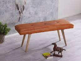 finebuy sitzbank silam ziegenleder massivholz bank 117 x 51 x 38 cm retro stil 2er polsterbank flur gepolsterte lederbank esszimmer braun