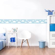 lovely label bordüre selbstklebend wolken blau wanddeko baby