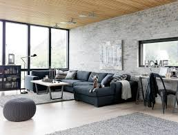 Gray Sectional Living Room Ideas by Living Room Front Room Furnishings With Brick Walls And Grey