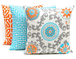 Oversized Throw Pillows Canada by Orange Throw Pillow Covers Three Orange And Turquoise