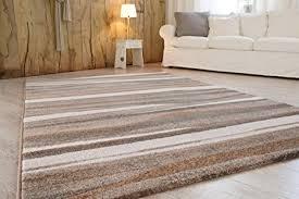 andiamo webteppich teppich für wohnzimmer schlafzimmer flur essbereich 100 polypropylen 200x290 cm streifen beige braun