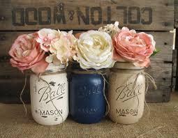 SALE Set Of 3 Pint Mason Jars Painted Rustic