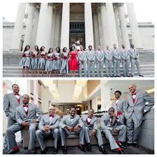 Nigerian Wedding Bridal Party In Grey And Red