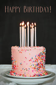 happy birthday pink cake and candles animated