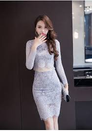classy and fashionable hollow out 2 pieces party club lace dress