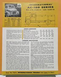 1957 International Harvester Truck Model AC 180 Specification Sheet
