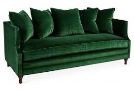 Sofa Brilliant Green Velvet For Dumont 85 Emerald One Kings Lane