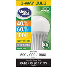 great value led 3 way e26 light bulb 4 16w 40 100 equivalent