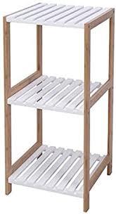 badezimmerregal badregal bambus weiss 3 böden holzregal