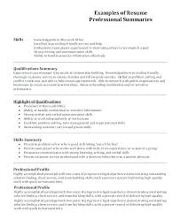 Profile Examples For Resume Sample On In Example