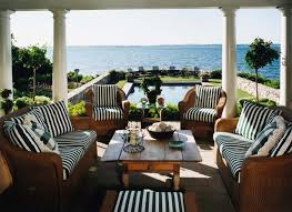 Hampton Bay Patio Furniture Porch Beach With Coastal Columns Framed View Outdoor Cushions Striped