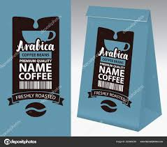 Paper Packaging Label Coffee Beans Vector Cup Bar Stock