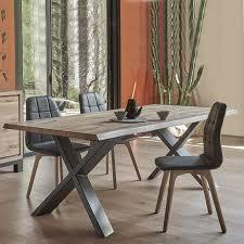 table de salle à manger moderne extensible en chêne massif et