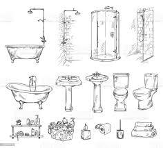 set badezimmerobjekten badewanne shover waschbecken und toilettenschüssel badezimmer zubehör vektor skizze stock vektor und mehr bilder