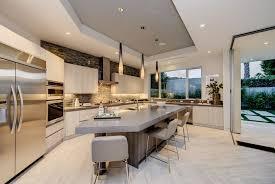 modern kitchen with breakfast bar pendant light in los angeles