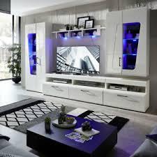 details zu wohnwand anbauwand schrankwand wohnzimmer set spirit plus weiß hochglanz mit led