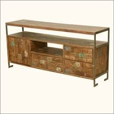 Retro Industrial Reclaimed Wood Iron Rustic Media Console TV Stand
