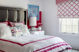 Gray Teen Girl Bed with Hot Pink Bedding Contemporary Girl s Room