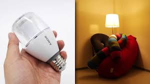 sound comes out though it is an led light bulb when listening to