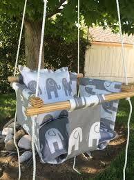 Searsca Patio Swing by Urban Baby Indoor Outdoor Canvas Swing Gray U0026 White Elephants