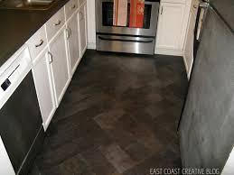 blue design accent color on cabinets porcelain tile kitchen floor
