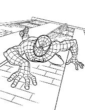 Peter Parker Coloring Page Spiderman Climbing On The Wall