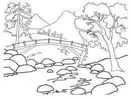 Nature Beautiful River Bank Landscape Of Coloring Page