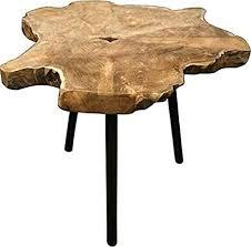 fair shopping tisch beistelltisch teak wohnzimmer teakholz holztisch dreibein natur design braun 45 x 55 cm j280