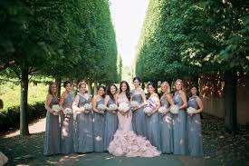 wedding wednesday grey and blush bridal party amsale