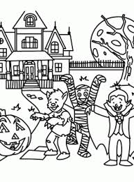 Printable Halloween Haunted House Coloring Pages Free