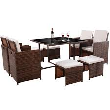 Tangkula 9PC Garden Wicker Dining Set Outdoor Wicker Ding Set Cape Cod Leste 5piece Tuck In Boulevard Ipirations Artiss 2x Rattan Chairs Fniture Garden Patio Louis French Antique White Back Chair Naturally Cane And Plantation Full Round Bay Gallery Store Shop Safavieh Woven Beacon Unfinished Natural Of 2 Pe Bah3927ntx2 Biscayne 7 Pc Alinum Resin Fortunoff Kubu Grey Dark Casa Bella Uk Target Australia Sebesi 2fox1600aset2