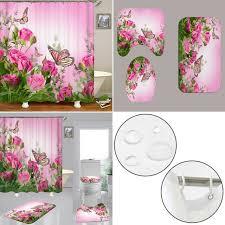 schmetterling rosa badezimmer duschvorhang bad teppich