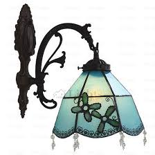 Ancient Rustic Alloy Fixture Glass Tiffany Style Wall Sconces