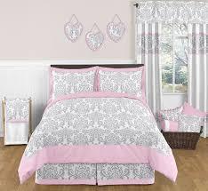 Sweet Jojo Designs Pink Gray Damask Girls Kids Teens Full Queen