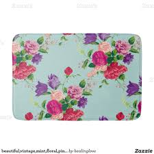 Mint Green Bath Rugs by Beautiful Vintage Mint Floral Pink Cute Girly Chic Bath Mats
