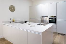 Interesting White Small Minimalist Kitchen Design With Nice Cabinetry