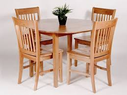 Utah Oak Dining Set With Round Drop Leaf Table 4 Chairs A Stylish And Practical