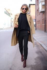 Le Fashion Blog Camel Coat Work Style All Black Look Pants Suit Burgundy Boots Fall Winter