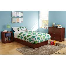 South Shore Libra Collection Dresser Chocolate by Twin Size Platform Bed Frame In Royal Cherry Wood Finish