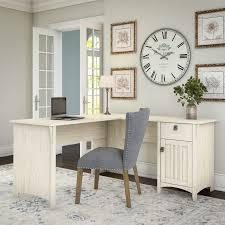 Maison Rouge Lucius Antique White L shaped Storage Desk Free
