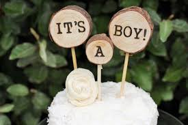 Its A Boy Cake TopperBaby Shower Topper Wood Slice Woodland Baby Rustic