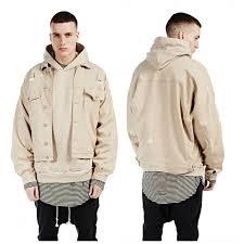 Hi Streetwear Baggy Oversize Ripped Camel Khaki Denim Jacket Hip Hop Urban Clothing Mens Destroyed