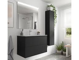badezimmer badmöbel 80 cm ulisse aus mattschwarz holz mit porzellan waschtisch abmessungen 80 cm zubehör standard