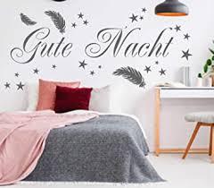 wandtattoo wandaufkleber schlafzimmer gute nacht mit federn und sterne aufkleber für die wand 120 x 60 cm schwarz