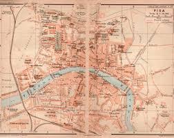 1916 Pisa City Map Italy Antique Vintage Lithograph Tuscany Toscana Italia