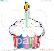 Birthday Cupcake With A Colorful Wrapper And Sprinkles Topped With A Lit Candle Clipart Illustration by Maria Bell