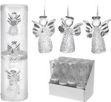 Set Of 3 Glass Angels Christmas Tree Decorations Baubles