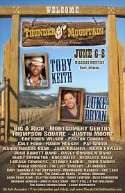 Toby Keith Luke Bryan To Headline 2013 Thunder On The Mountain Country Music Festival