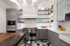 Large Size Of Kitchen White Brick Walls Gray Cabinets Hexagon Tile Flooring Dark Wooden Island